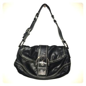 Coach Black Leather Leather Shoulder Purse